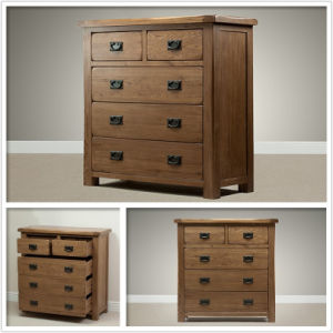 Solid Oak Wooden 3+2 Drawer Chest Furniture (HSRU003)