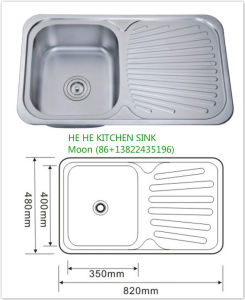 Topmount Stainless Steel Sink with Drain Bowl 8248A pictures & photos