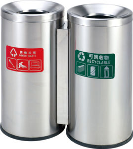 Rounded Stainless Steel Street Rubbish Bin for Airport (HW-95) pictures & photos