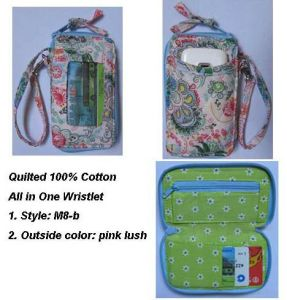 Quilted Cotton Wristlet Wallet (M8-B)