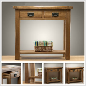 Rustic Solid Oak 2 Drawer Console Table (HSRU-005)