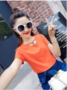 Fashion Clothes Summer Round Neck Short Sleeve Lady Cotton T-Shirt pictures & photos