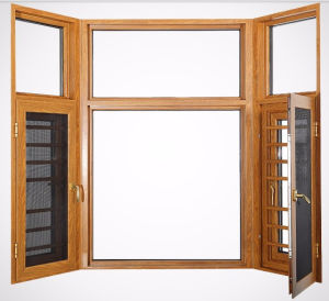 China Wood Grain Finish Aluminium Casement Sliding Window with Screen pictures & photos