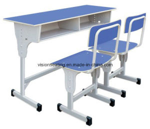 Adjustable Double School Desk and Chair (7601) pictures & photos
