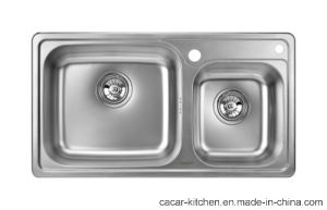 Cacar Stainless Steel Matte Kitchen Sink with Double Bowls (CCL-8245B) pictures & photos