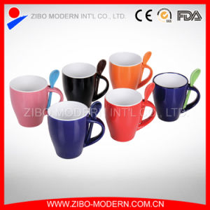 Wholesale Colorful Ceramic Mug with Spoon Holder pictures & photos