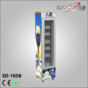 Moveable Single Glass Door Upright Slim Type Ice Cream Freezing Showcase (SD-105B) pictures & photos