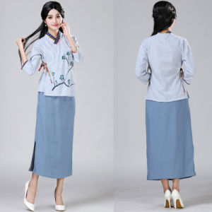 Linen Split Straight Long Skirt with Pocket pictures & photos