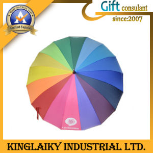 Customized Rainbow Rain Umbrella with Custom Branding for Gift (KU-007) pictures & photos