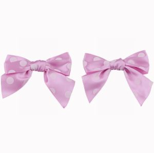 Pink Satin with White Dots Ribbon Bow pictures & photos