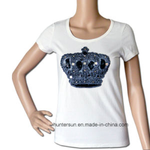 Women T-Shirt with Crown Rope Embroidered (HT7046)