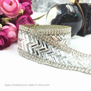 Clear with Silver Crystal Colored Rhinestone Wedding Banding 3cm Width Beaded Rhinestones Trim Chain Iron on Hotfix Crystal Chain (TS-049) pictures & photos