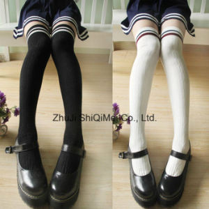 Combed Cotton School Students Knee-High Socks Stockings pictures & photos