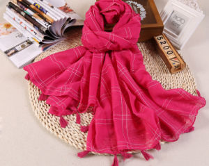 Hot Sale Plain Color Cotton Checked Lady Scarf