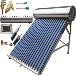 Panel Water Heater Heat Pipe Vacuum Tube Solar Hot Water Heater with Assistant Solar Water Tank pictures & photos