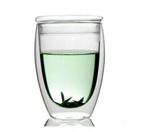 Egg-Shaped 350ml Glass Tea Cup with Lid (XLSC-001G 350ml) pictures & photos