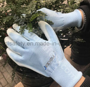 Red Polyester Work Glove with PU Palm Coated (PN8004) pictures & photos