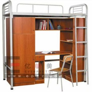 Single Metal Bunk Bed with Desk, Single Bunk Bed, Metal Bunk Beds with Springs pictures & photos
