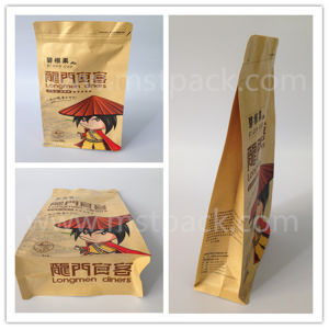 Kraft Paper Flat Bottom Zipper Dry Fruit Packaging Bag pictures & photos