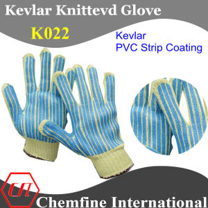 Kevlar Knitted Glove with 2-Side PVC Strip Coating pictures & photos