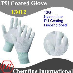 13G White Nylon Knitted Glove with White PU Smooth Coating on Fingertip pictures & photos