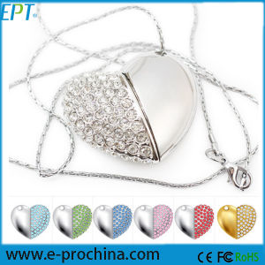 Jewelled Heart Shaped USB Flash Drive Crystal Rhinestone Necklace USB Flash Memory pictures & photos