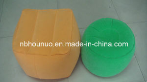 High Quality Self-Inflatable Flocking PVC Square and Round Stool, Water Repellent, Light Weight
