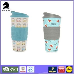 BPA Free Double Wall Plastic Coffee-to-Go Travel Mug with Silicone Band and Base pictures & photos