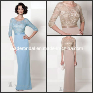 Champagne Crew Half Sleeves Lace Chiffon Mother of The Bride Dress Yao1016 pictures & photos