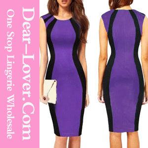 Curve-Flattering Patchwork Black Purple MIDI Dress pictures & photos