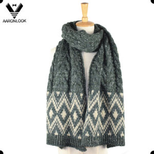 Jacquard Diamond Pattern Thick Heavy Knit Scarf pictures & photos