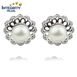 AAA 9mm Button Freshwater High Quality Fancy Pearl Earring pictures & photos