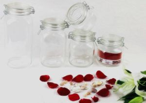 Airtight Glass Storage Jar/Candy Jar/Mason Jar/Spice Bottle/Candle Jar with Clip/Clamp/Locking Lid pictures & photos