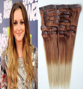 2016 Hot Selling! ! ! Factory Wholesale Double Drawn Thick Ends Remy Clip in Hair Extension pictures & photos