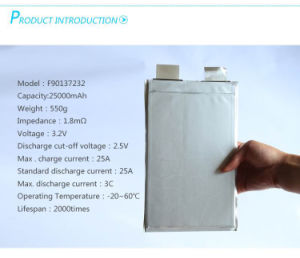 3.2V 25ah LiFePO4 Lithium-Ion Battery Cell for Battery Pack in EV pictures & photos