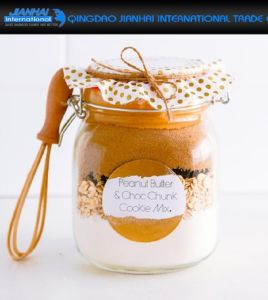 Glass Peanut Butter Jam Container with Color Clip Lid pictures & photos