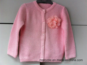 Girls Pink Pointelle Cardigan with Corsage pictures & photos
