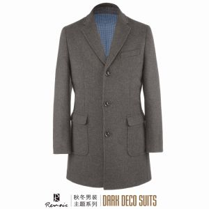 OEM 2017 Winter Notch Lapel Men′s Woolen Overcoat pictures & photos