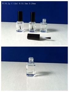 12ml Square Glass Nail Polish Bottle with Cap and Brush pictures & photos