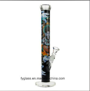 Black Leaf Ganesha Rising Straight Tube Glass Water Pipe pictures & photos