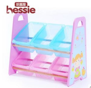 Wooden Toy Storage Shelf Plastic Bin Tidying Box Furniture pictures & photos