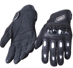Best Protective Black PRO Biker Leather Motorcycle Gloves with OEM Service pictures & photos