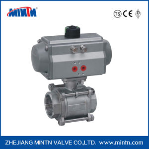 Pneumatic Stainless Steel Thread Connection 3-PCS Ball Valve with High Platform