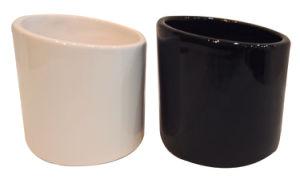 Black & White Dolomite Flower Pot (13-0112)