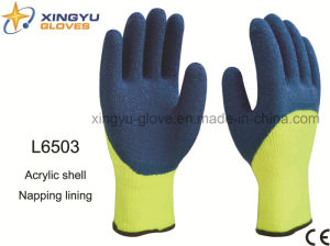 Acrylic Shell Napping Lining Latex 3/4 Coated Crinkle Finish Safety Work Glove (L6503) pictures & photos