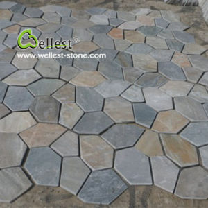 S014 Back Mesh Slate Tile-Iregular Slate Crazy Paving Flagstone pictures & photos