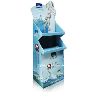 Cardboard Pop Display Stand, Floor Display Stand with 2 Trays Formilk pictures & photos