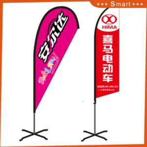 Hot Sale Digital Printing Feather Flag with Red Yellow Blue pictures & photos