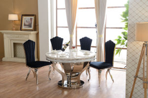 Luxury Style Black Marble Dining Table with Chairs pictures & photos