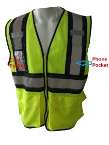Hi-Vis 100% Polyester Mesh Reflective Safety Vest with Pockets pictures & photos